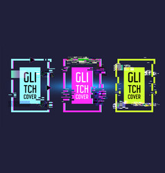 Geometric frames with glitch effect banners vector