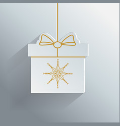 gift box with golden snowflake new year vector image