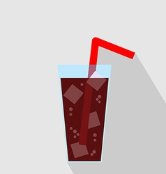 Glass of Cola Drink with Ice Flat Icon vector image