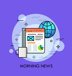 Globe cup of coffee and electronic newspaper vector