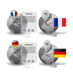 globes with map marker and state flags of germany vector image