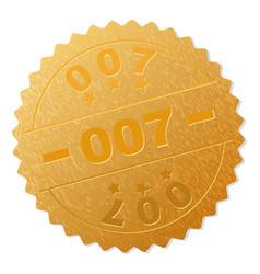 Gold 007 medal stamp vector