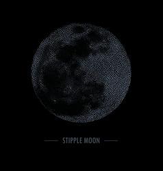 halftone full moon stipple vector image