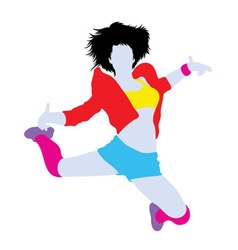 Happy Hip Hop Dancer Silhouette vector image