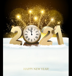 Happy new year background with 2021 and fireworks vector