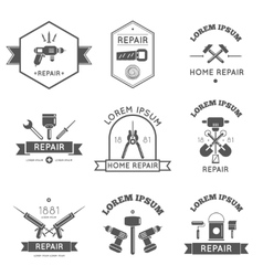 Home repair tools labels flat vector