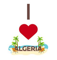 i love algeria travel palm summer lounge chair vector image