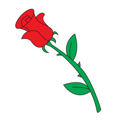 image of cartoon red rose icon isolated on white vector image
