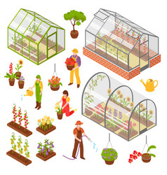 Isometric 3d greenhouse icon set vector