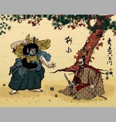 Japanese woodblock vector