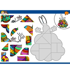 Jigsaw puzzle with easter bunny vector