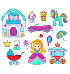 kids toys cartoon girlie games for children vector image