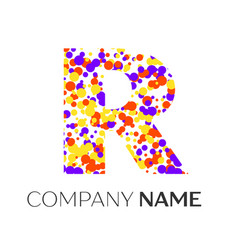 Letter r logo with purple yellow red particles vector