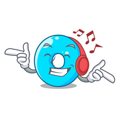listening music cartoon the number zero color blue vector image