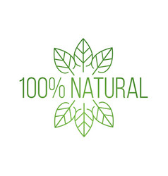 logo 100 natural with leaves natural product vector image
