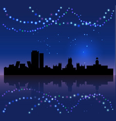 madrid silhouete and chritsmas lights vector image