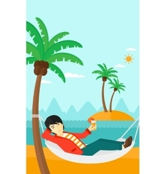 Man chilling in hammock vector image