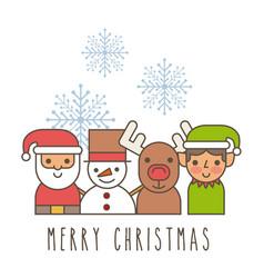 Merry christmas santa snowman deer elf helper vector