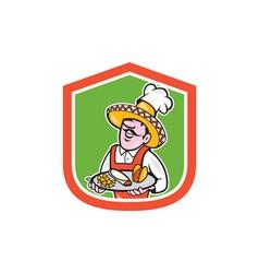 Mexican Chef Cook Shield Cartoon vector