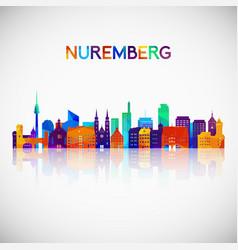 Nuremberg skyline silhouette in colorful vector