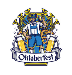 old man cheerful enjoying oktoberfest vector image