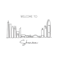one continuous line drawing shenzhen city skyline vector image