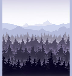 pine forest in fog on vector image