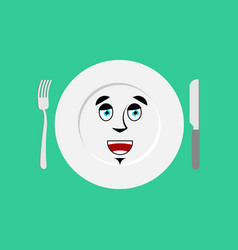 Plate happy emoji empty dish isolated merry vector