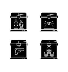Produce 3d models black glyph icons set on white vector
