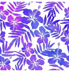 Purple watercolor hibiscus seamless pattern vector image