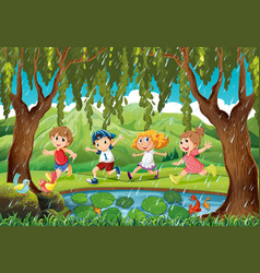 raining scene with kids in forest vector image