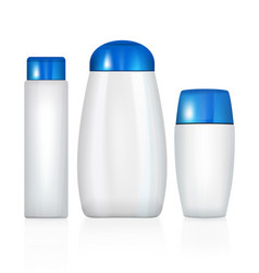 realistic cosmetic bottle isolated pack on white vector image