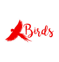 red logo design with flying bird vector image