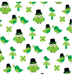 saint patricks day owls birds and shamrock pattern vector image