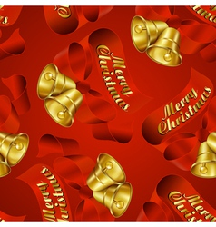 seamless merry christmas bells wrapping paper patt vector image