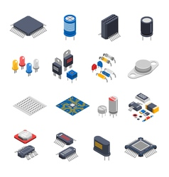 Semiconductor Components Icon Set vector