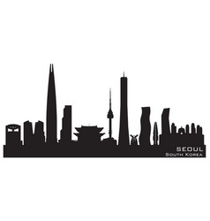 seoul south korea city skyline silhouette vector image