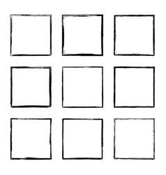 Set hand drawn rectangle frame vector