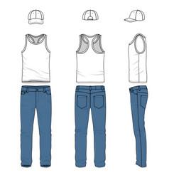 set of male vest jeans baseball cap vector image