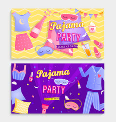 set pajama partys invitation banners vector image