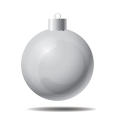 silver christmas ball 01 vector image