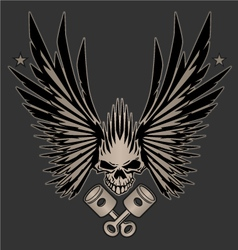 Skull Wings and Crossed Pistons vector
