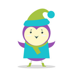 Small purple bird in sweater and hat with pompon vector