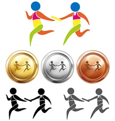 Sport medals with relay running vector image