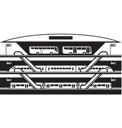 Stop at different levels buses trains and subwa vector