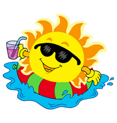 Sun with drink in water vector