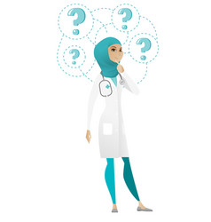 Thinking doctor with question marks vector