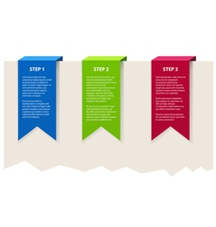 Three color banners with sample text vector