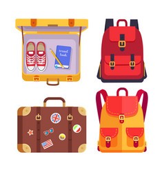 Travel book in luggage set vector