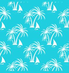 tropical island palm trees sailing boat seamless vector image